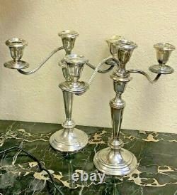 Pair Antique Gorham Sterling Weighted Candlesticks Candelabra Triple Branch 11.5