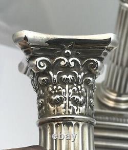 Pair Of Mappin & Webb Silver Corinthian Column Dwarf Candlesticks Sheffield 1996