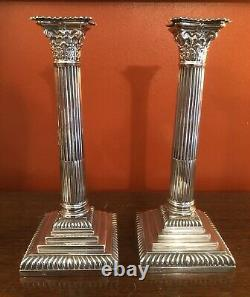 Pair Of Victorian Solid Silver Corinthian Candlesticks Sheffield 1891