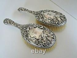 Pair Victorian Crested Silver Hair Brushes, London 1893