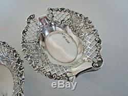 Pair Victorian Solid Silver Bon Bon, Trinket Dishes, Sheffield 1895