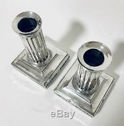 Pair of Antique Victorian Solid Sterling Silver Column Candlesticks 1896