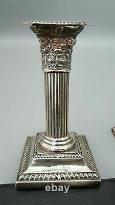 Pair of Victorian sterling silver Corinthian Column candlesticks, London 1878