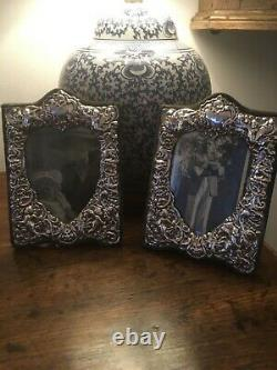 Pair of sterling silver photo / picture frames