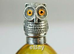 Perfume Silver Owl Bird top Antique Bottle Amber Glass Scent Bottle Tear drop