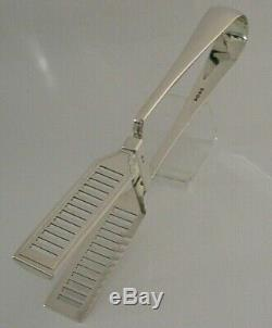 QUALITY VICTORIAN SOLID SILVER ASPARAGUS or VEGETABLE SERVING TONGS 1890 132g