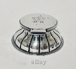 Quality Antique Victorian Sterling Silver Capstan Inkwell with Glass Liner 1897