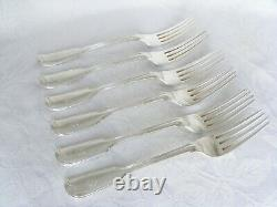 Quality Set 6, Victorian Solid Silver Table / Dinner Forks-London 1870 G. Adams