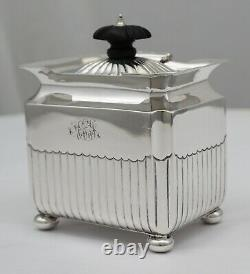 Quality Victorian sterling silver tea caddy, Gs&Ss Co. London 1894, 98mm, 159g