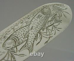 RARE DORSETSHIRE 39th REGIMENT MILITARY SOLID STERLING SILVER FISH SERVER 1863