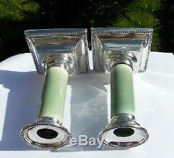RARE PAIR VICTORIAN Martin Hall & Co SOLID SILVER & GREEN STAINED CANDLESTICKS