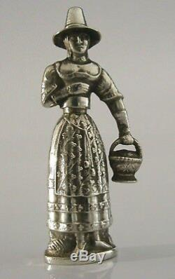 RARE SOLID SILVER FIGURE NEEDLE CASE c1850 13 LOTH VICTORIAN SEWING ANTIQUE