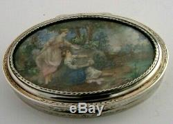 RARE SOLID SILVER HAND PAINTED FRENCH TABLE SNUFF BOX c1880 STUNNING ANTIQUE