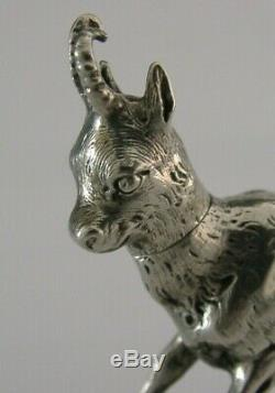 RARE SOLID SILVER NOVELTY MOUNTAIN GOAT SNUFF BOX c1890 ANIMAL ANTIQUE
