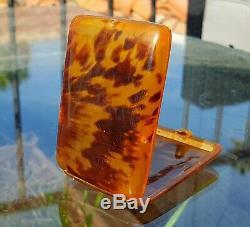 RARE VICTORIAN Faux BLONDE TORTOISE SHELL CIGAR CASE c1880