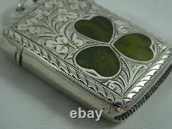 RARE, stone set VICTORIAN silver VESTA CASE, 1900, 27gm