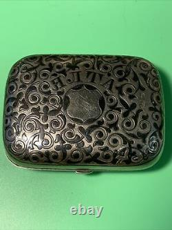 RUSSIAN STERLING SILVER GILDED NIELLO SNUFF BOX, 1890's MOSCOW
