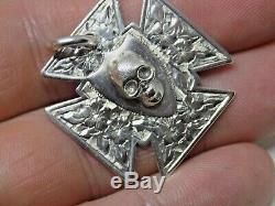 Rare 1885 Victorian Memento Mori English Sterling Silver Skull Watch Fob/pendant