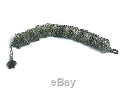 Rare Antique 19th Century Victorian Solid Silver Memento Mori 9 Skulls Bracelet