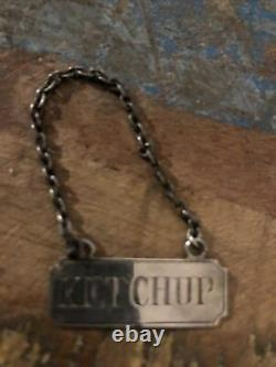 Rare Antique Georgian Victorian Solid Silver Ketchup Bottle Ticket Label