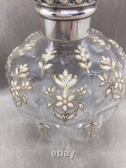 Rare Antique Sampson Mordan London Silver Gilt Enamel Glass Perfume Scent Bottle