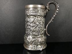 Rare Antique Tiffany & Co. Sterling Silver Repoussé Mug/Tankard