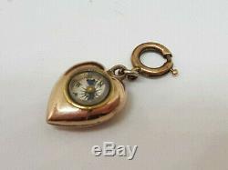 Rare Antique Victorian Brass Compass Heart Shape Pocket Watch Fob