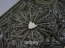 Rare Beautiful Solid Silver Filigree Card Case Georgian Victorian Antique