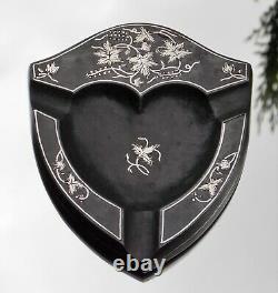 Rare Beautiful Victorian Solid Silver Inlaid Shield Shape Cigar Holder-tray