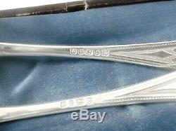 Rare Egyptian Revival 3 Piece Silver Cutlery Christening Set Cased 1873 pharaoh