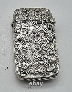 Rare Embossed Shamrock Design Antique Sterling Silver Vesta Case Chester 1886