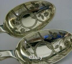 Rare English Exeter Baird Family Crest Solid Silver Serving Spoons 1882 Antique