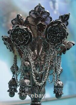 Rare Intricate Sterling Silver Filigree Tussie Mussie wedding flower posy Holder