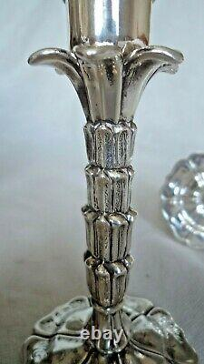 Rare Pair Victorian 1849 Novelty Palm Tree Silver Tapersticks / Candlesticks