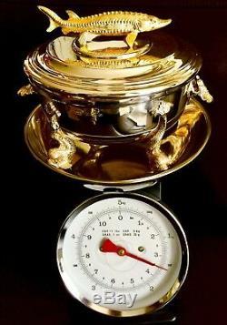 Rare Solid Silver Large 8/20cm Heavy (1.6kg) English William Comyns Caviar Dish