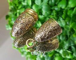Rare Stunning Victorian Gilt Floral & Scroll Chatelaine Oval Scent Bottle 1881