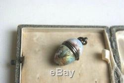 Rare Victorian Austrian Silver & Enamel Vinaigrette Egg Pendant Ludwig Politzer