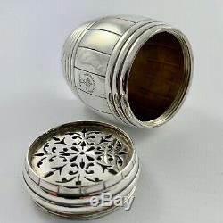 Rare Victorian Garrard & Co Sterling Silver Novelty Beer Barrel Pounce Pot 1900