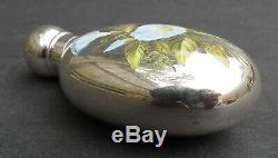 Rare Victorian Sampson Mordan & Co Silver & Enamel'morning Glory' Scent Bottle