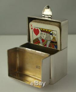 Rare Victorian Solid SIlver & Enamel Playing Cards Box London 1898