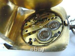 Rare Victorian Sterling Silver Combination Vesta, Sovereign Case & Watch Clock