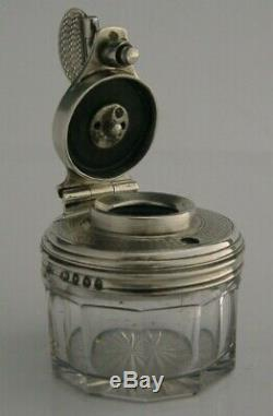 Rare Victorian Sterling Silver Glass Travelling Inkwell 1846 Macaulay Crested