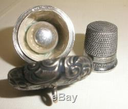 Rare antique acorn form thimble sterling silver case holder Victorian chatelaine
