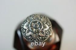 Red Glass Embossed Silver Top Scent Perfume Bottle Red Glass overlay & stopper