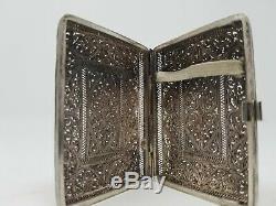 Russian 19th Century Solid Silver Filigree Cigarette Case