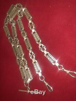 SOLID SILVER DOUBLE ALBERT POCKET WATCH CHAIN NECKLACE 24 Inch 600mm 61 Grams