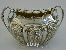 STUNNING ENGLISH VICTORIAN SOLID STERLING SILVER SUGAR BOWL 1892 ANTIQUE 96g