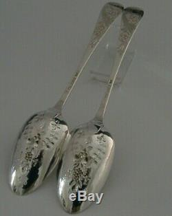 STUNNING SET OF VICTORIAN STERLING SILVER SERVING BERRY SPOONS 1885 ANTIQUE 118g