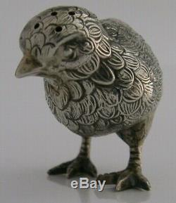 SUPERB BIRD CHICK ANTIQUE SOLID SILVER SALT or PEPPER POT ANTIQUE c1900