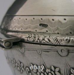 SUPERB LARGE 204g DUTCH SOLID SILVER CHERUB & BEE CADDY TABLE BOX 1899 ANTIQUE